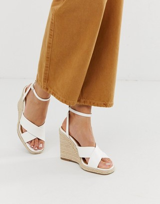 Asos Design DESIGN Jones square toe wedge espadrilles-White