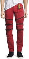 Robin's Jeans Distressed Zipper Moto Jeans, Red