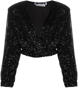 Rotate by Birger Christensen Sequinned Cropped Jacket