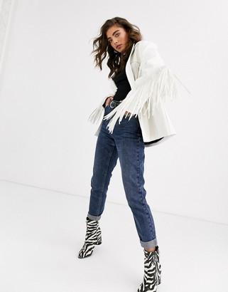 Asos Design DESIGN fringe leather look jacket-White