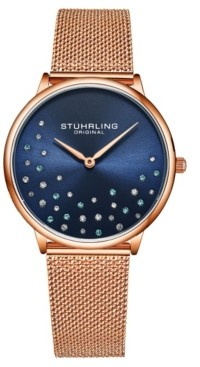 Stuhrling Original Women's Rose Gold Mesh Stainless Steel Bracelet Watch 38mm