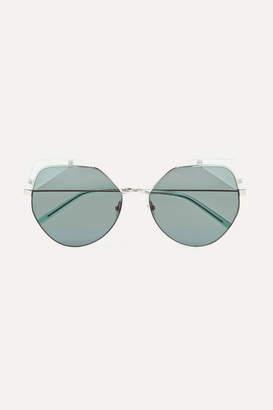 Cat Eye For Art's Sake - Fruity Cat-eye Silver-tone And Acetate Sunglasses - Blue