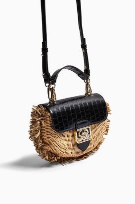 Topshop Womens Seb Straw Cross Body Bag - Black