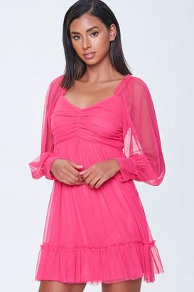 Forever 21 Mesh Balloon-Sleeve Sweetheart Dress