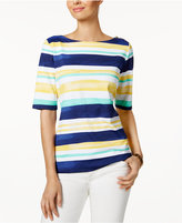 Charter Club Elbow-Sleeve Striped Top, Created for Macy's