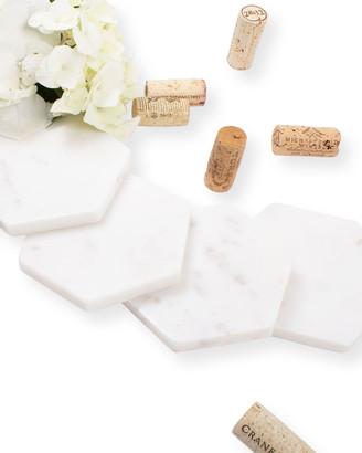8 Oak Lane White Marble Hexagon Coasters, Set of 4