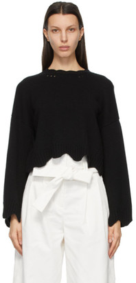 3.1 Phillip Lim Black Wool and Cashmere Scalloped Sweater