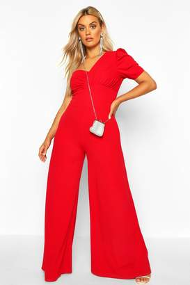 boohoo Plus One Shoulder Puff Sleeve Jumpsuit