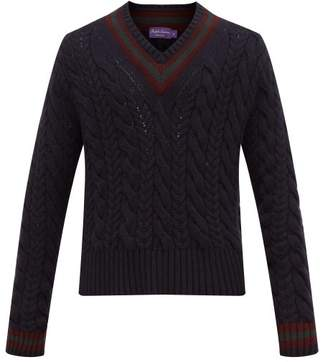 Ralph Lauren Purple Label Cable Knitted Cashmere Cricket Sweater - Mens - Navy