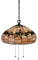 3 - Light Unique / Statement Dome Pendant with Beaded Accents Meyda Tiffany