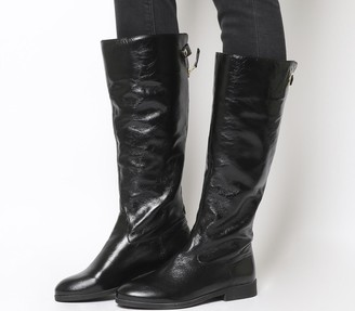 Office Kayak Casual Back Zip Knee Boots Black Leather