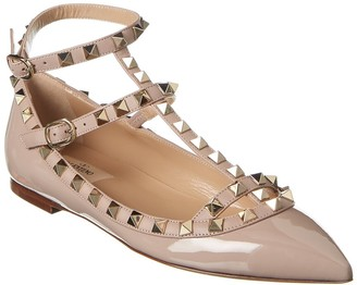 Valentino Rockstud Caged Ankle Strap Patent Ballet Flat