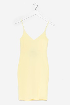 Nasty Gal Womens Black Midi Bodycon Dress with V-Neckline - Lemon