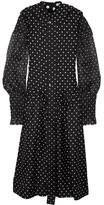 Loewe Polka-dot Silk-satin Twill And Cotton-gauze Midi Dress - Black