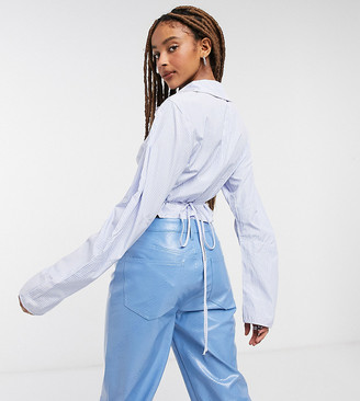 Collusion fitted shirt with cocoon sleeves in blue stripe