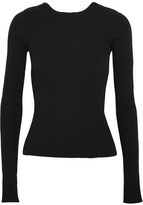 Tibi Lace-up Ribbed-knit Sweater - Black