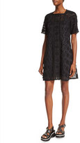 Marc Jacobs Short-Sleeve Lace Dress W/Slip, Black