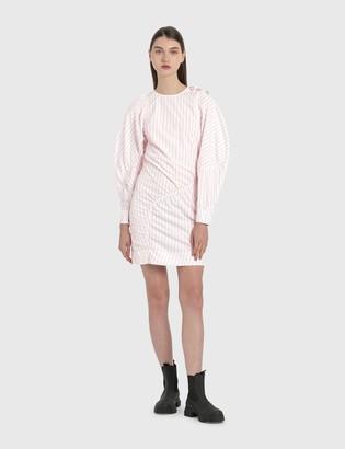 Ganni Asymmetric Striped Cotton Dress