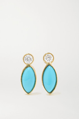 Jennifer Meyer 18-karat Gold, Turquoise And Diamond Earrings - one size