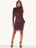 AX Paris High Neck Ruched Sparkle Dress - Plum