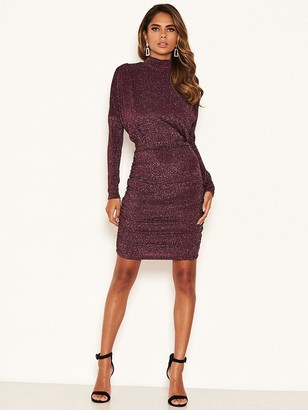 AX Paris High Neck Ruched Sparkle Dress - Plum
