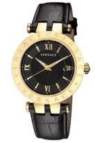 Versace Men's VCL020016 V - RACE Gold IP Black Leather Wristwatch