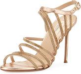Valentino Strappy Beaded Open-Toe Sandal