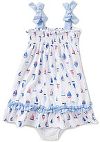 Starting Out Baby Girls 12-24 Months Smocked Sailboat-Print Dress & Bow Set