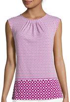 Liz Claiborne Sleeveless Pleated Neck Print Knit Top - Tall