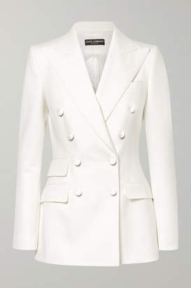 Dolce & Gabbana Double-breasted Wool-blend Blazer - White
