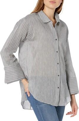 Halston Women's Long Sleeve Wide Cuff Stripe Shirt