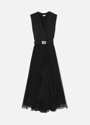 Brunello Cucinelli Belted Crepe And Chiffon Maxi Dress - Black