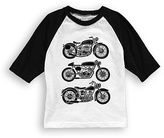 Urban Smalls White & Black Motorcycles Raglan Tee - Toddler & Boys