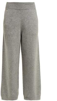 Barrie Wide Leg Cashmere Track Pants - Womens - Grey