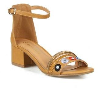 Nature Breeze Two Piece Block Heel Sandals in Camel