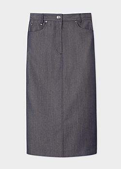 Women's Navy Denim-Effect Wool-Blend Midi Pencil Skirt