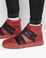 Asos High Top Trainers in Red With Cross Over Black Elastic