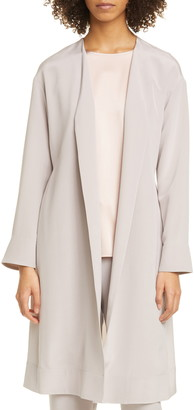 Eileen Fisher Open Front Belted Silk Trench Coat