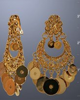 gold coin chandelier clip-on earrings