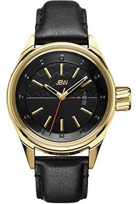 JBW Men's Rook J6287D Rook Analog Display Japanese Quartz Black Leather Diamond Watch