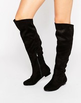 Daisy Street Black Flat Knee Boots