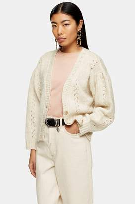 Topshop Womens Knitted Pointelle Cardigan - Ivory