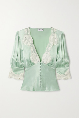 Rixo Amanda Lace-trimmed Satin Blouse - Mint