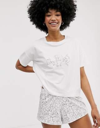 Monki pyjama set with lady print in white-Multi