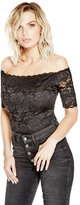 GUESS Women's Dara Off-The-Shoulder Lace Bodysuit