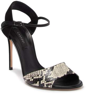 Casadei Snake Embossed Leather & Suede Stiletto Heel Sandal