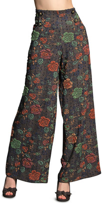 Eva Franco Hepburn Floral Jacquard Pants