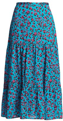 Paige Bestia Ruffle Floral Print Skirt