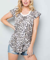 Acting Pro Women's Tee Shirts TAUPE - Taupe Leopard Chevron Angel-Sleeve Top - Women & Plus
