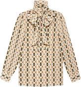 Gucci Silk shirt with Web kisses print - women - Silk - 38